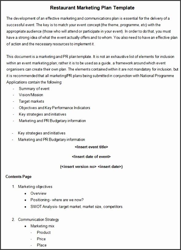 Sample Restaurant Marketing Plan Template Download