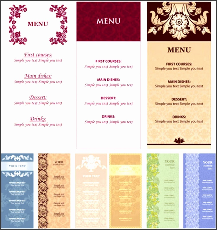 Ornate restaurant menu templates vector