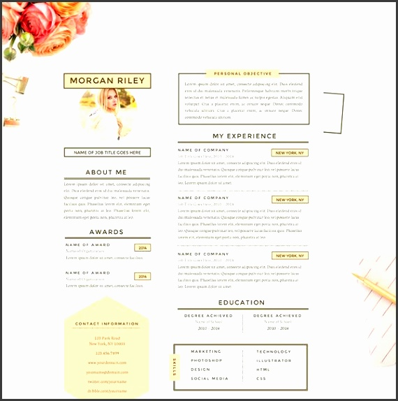 orange resume template Pretty Sunrise Resume Cover Letter