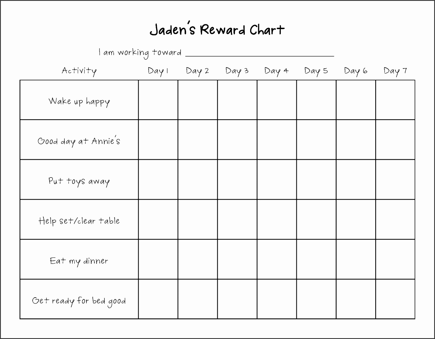 Living My Life Purpose Reward Chart Update