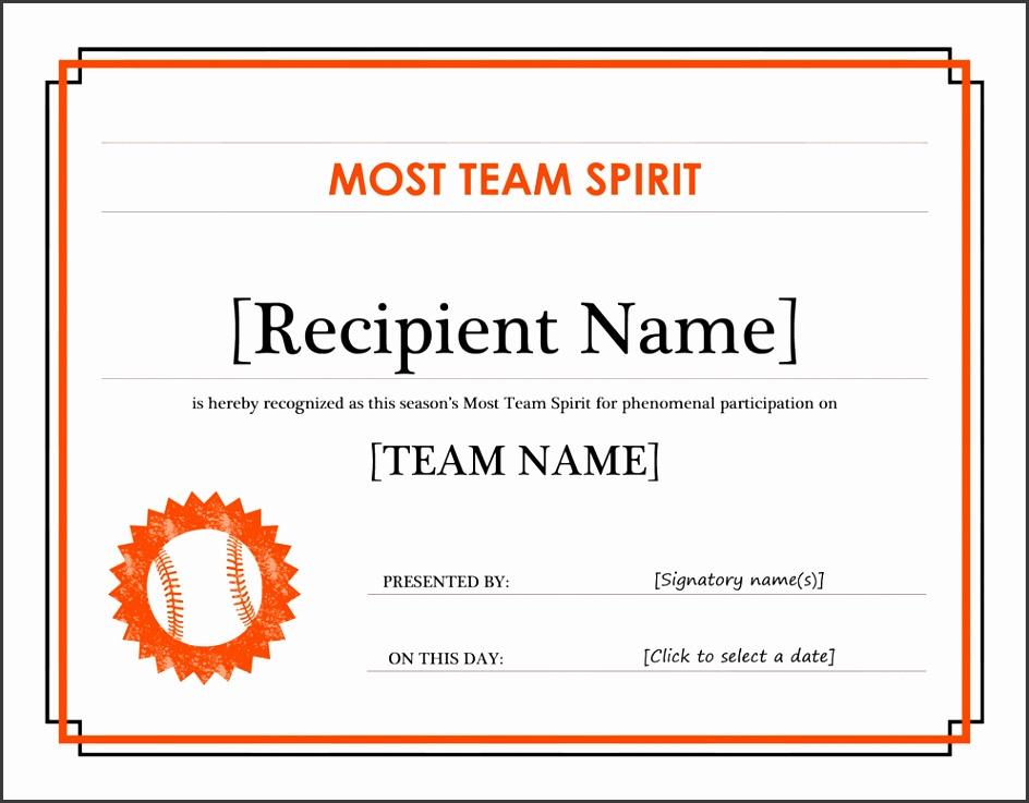 Team Spirit award certificate editable title