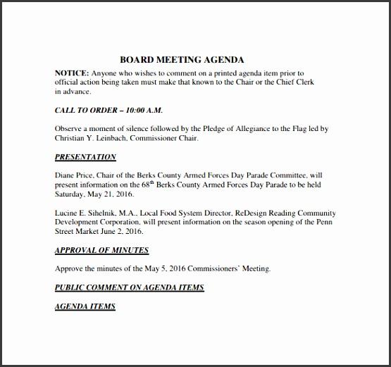 Board Meeting Agenda to Print