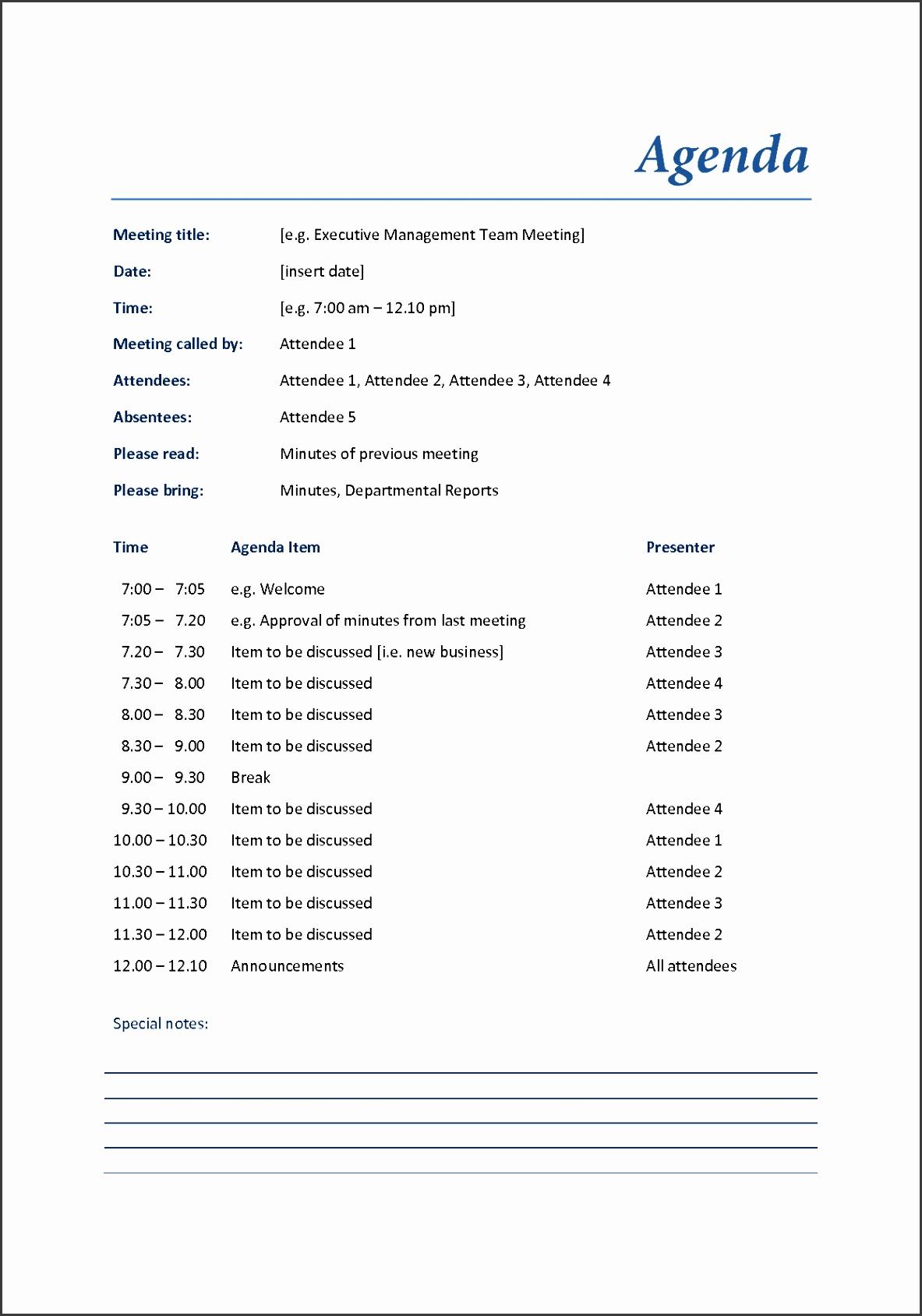 sample meeting agenda business meeting agenda format with