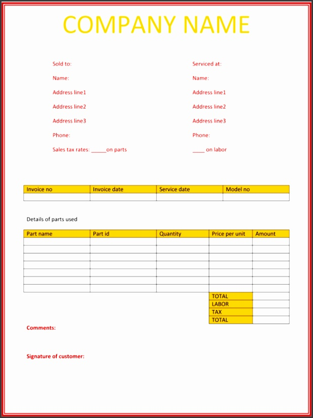 Service invoice Template for Word