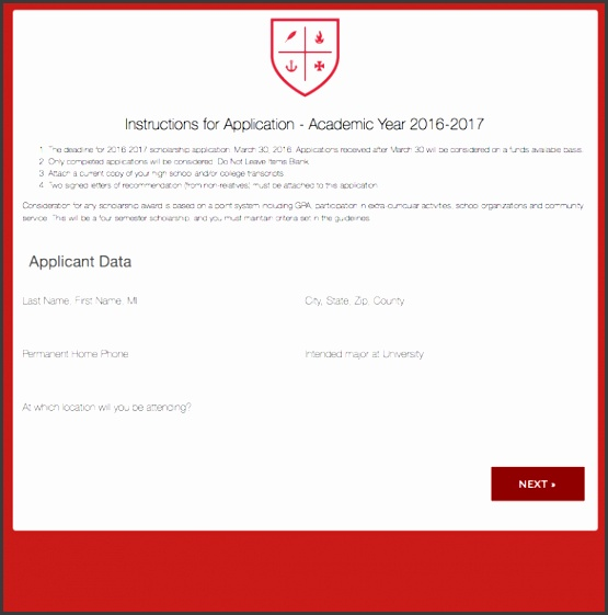 scholarship application form template