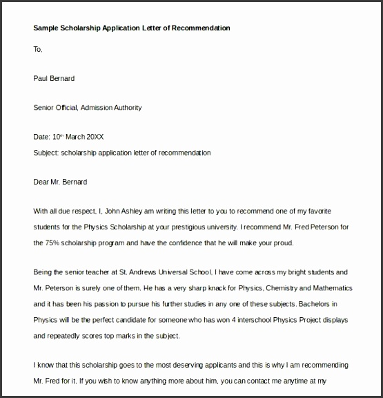 sample scholarship application letter of re mend