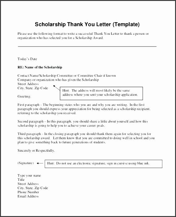Best Cover Letter for Scholarship Award Also Resume Thank You Letter Template Thank You Letter Templates