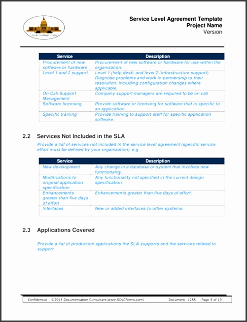 Service Level Agreement Template P05 500