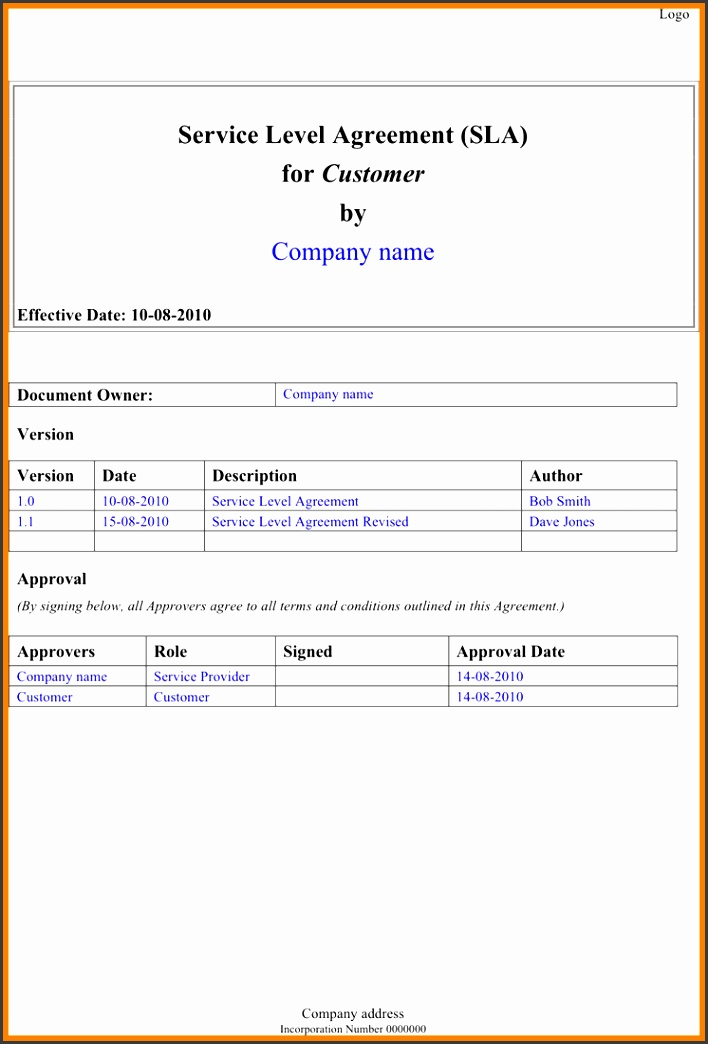 6 service level agreement template