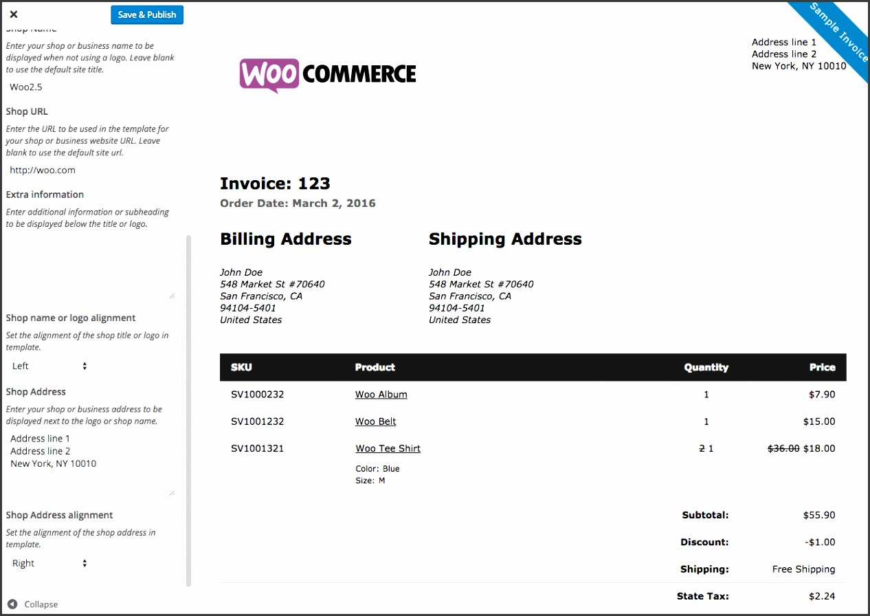Woo merce Print Invoices Packing Lists customizer