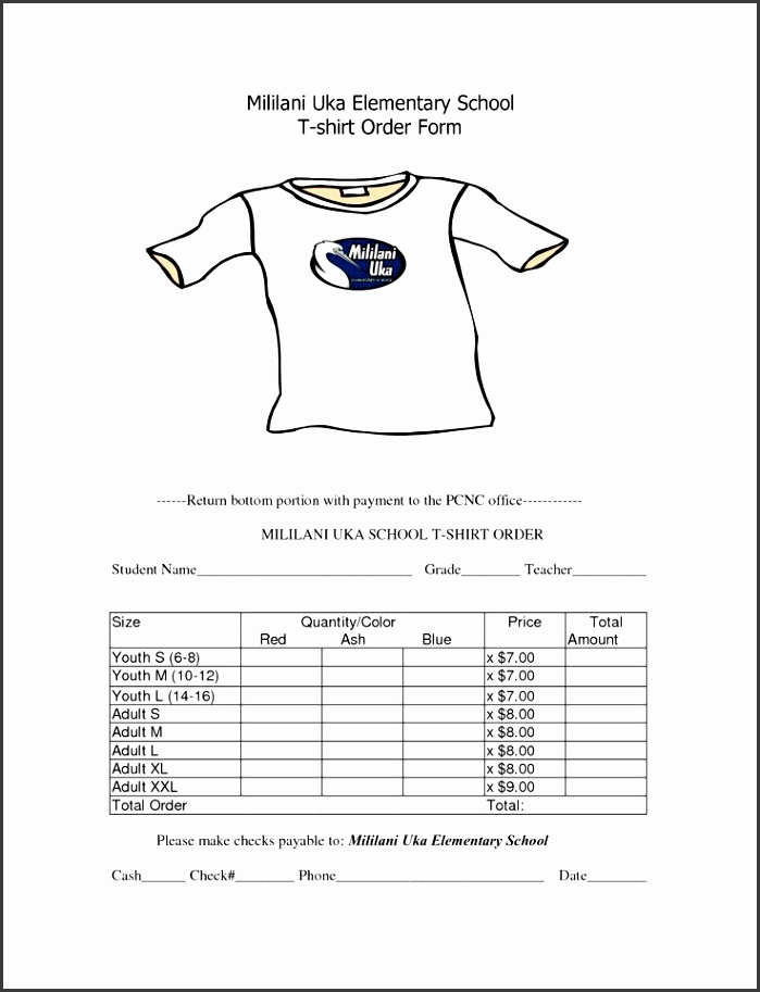 School T Shirt Order Form Template