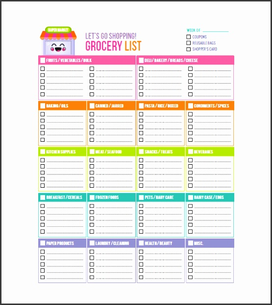 Sample Insanity Grocery List Template