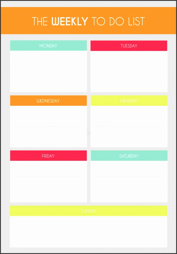 Download Template Simple Colorful The Weekly To Do List Stock Illustration Illustration