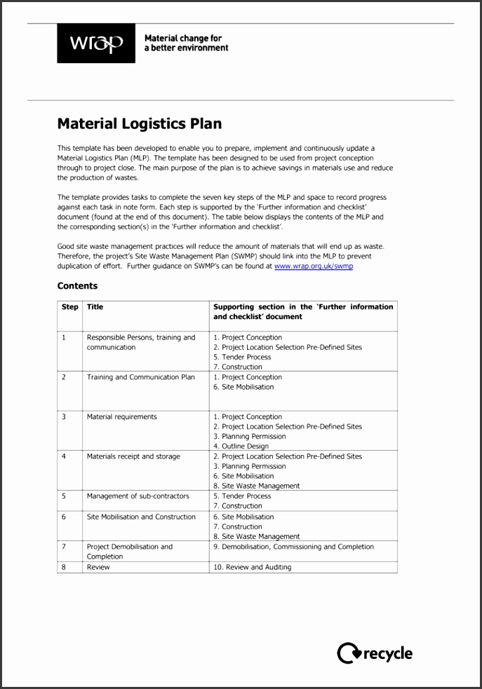 GBE SWMP Collaborate Green Building Encyclopaedia Material Logistics Plan template
