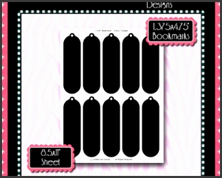 Bookmark Template Instant Download PSD and PNG Formats Temp20 Bookmark 1 Digital Bottlecap Collage