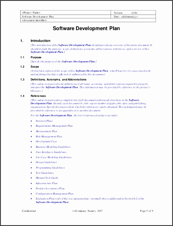Project Name Version 1 0 Software Development Plan