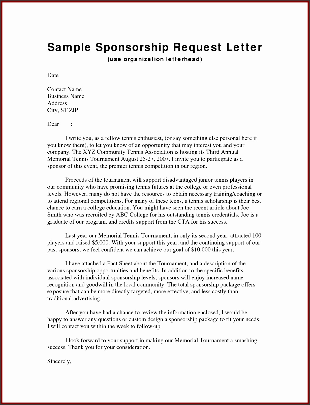 Event Sponsorship Request Letter Template by hcu