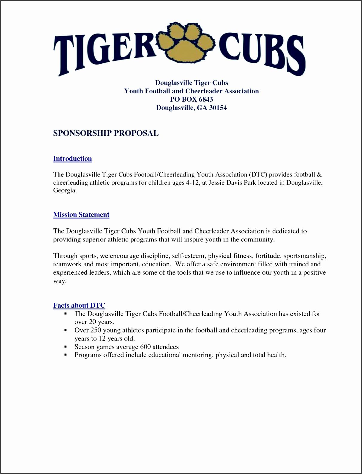 Sports Sponsorship Proposal Lovely Youth Sponsorship Letter 55 Sample Proposal Letter for