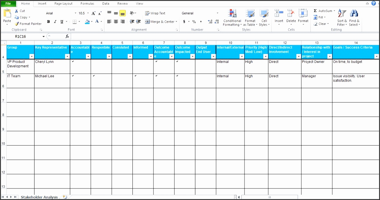 Free Stakeholder Analysis Excel Template For Project Management