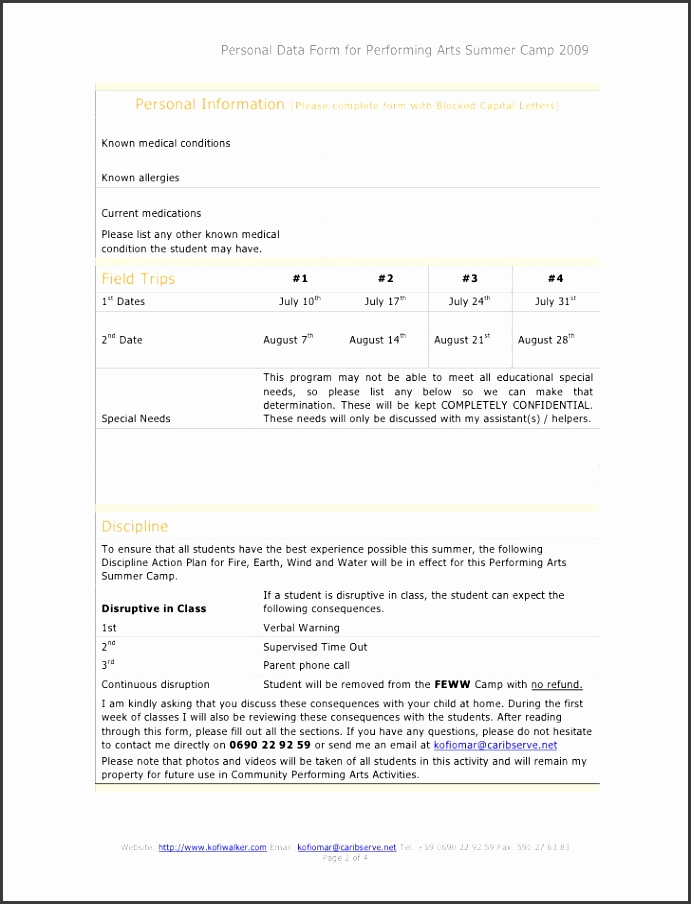 2 Personal Data Form for Performing Arts Summer Camp