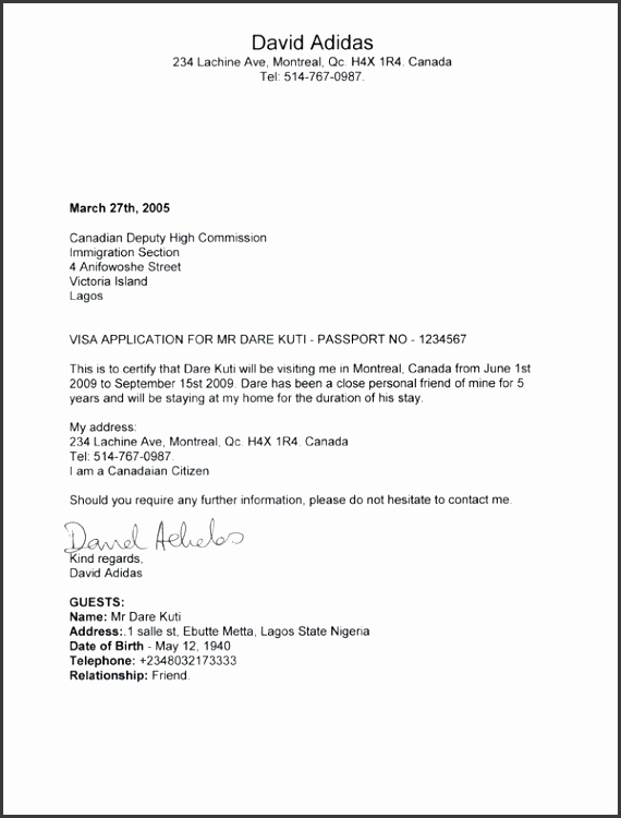 Affidavit Support Letter For Visitor Visa