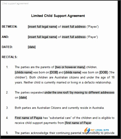 template for child support agreement child support and parenting plan agreement template