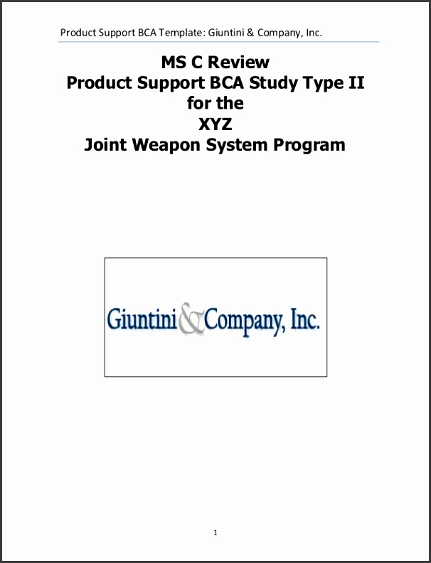 System Product Support Business Case Analysis Example Product Support BCA Template Giuntini & pany Inc 1MS C ReviewProduct Support BCA