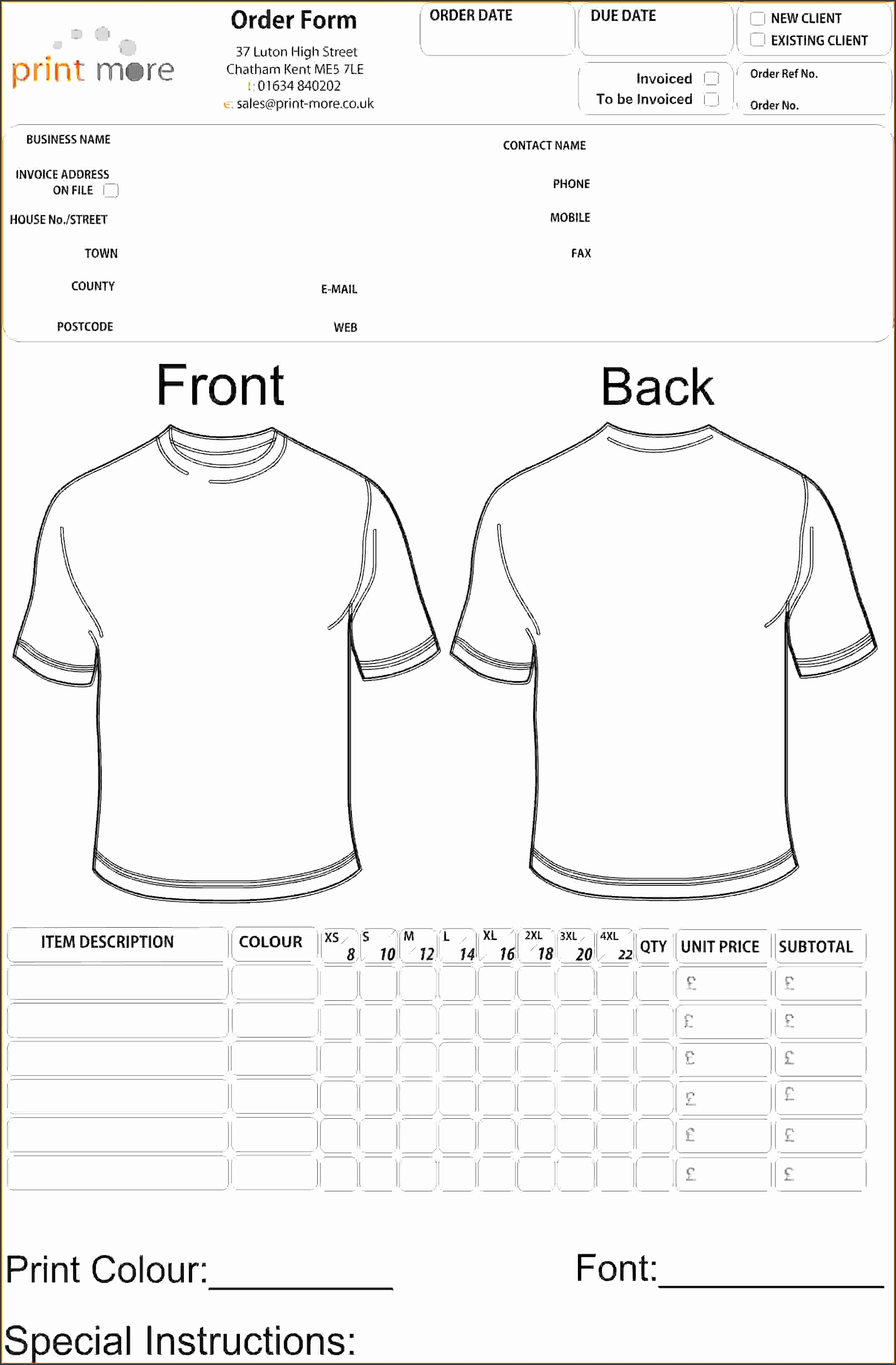 4 T Shirt Order Form Template Freereference Letters Words in T Shirt Order Form Template