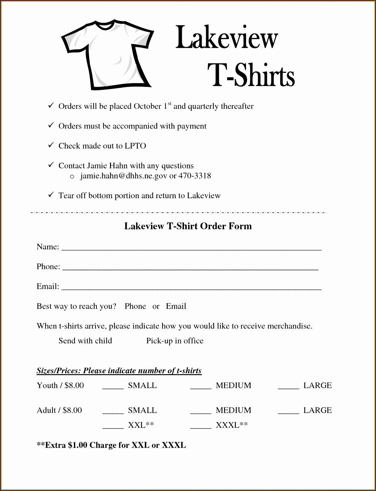 shirt order form template microsoft word