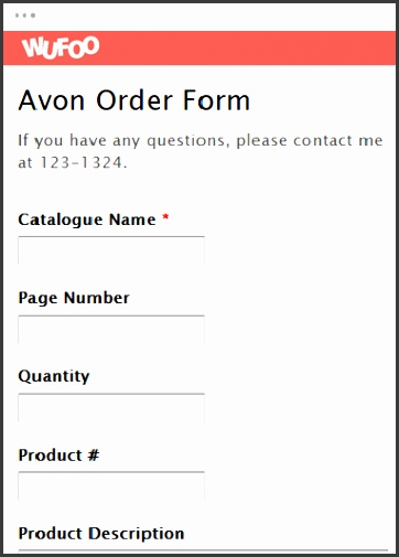 TShirt Order Form Avon Order Form View Template Use Template