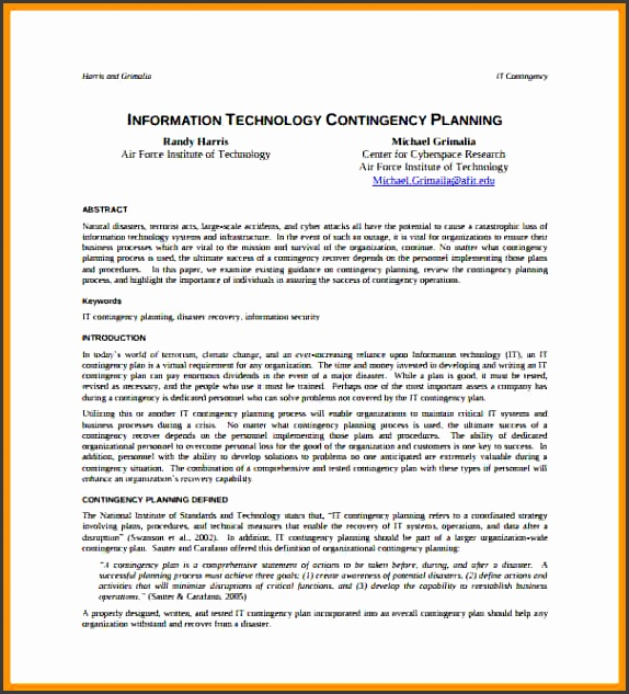 business contingency plan template information technology contingency plan