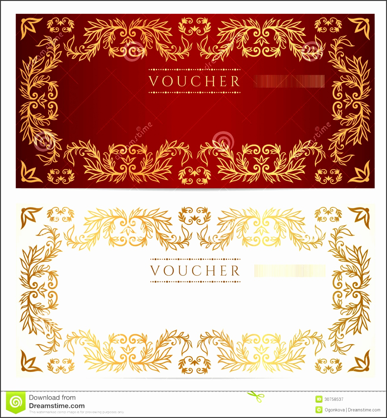 Voucher t certificate template Gold pattern