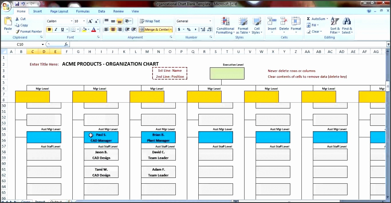 Excel Organization Chart Template Demonstration Youtube intended for Organizational Chart Template Excel 6043