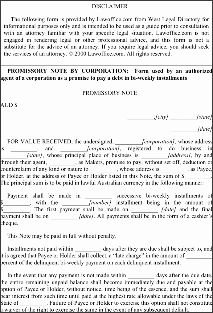 Promissory Note By Corporation
