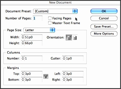 "InDesign creates a new one page document and shows you the first document page Switch to the Master Page by double clicking the ""A Master Page"" name at the"
