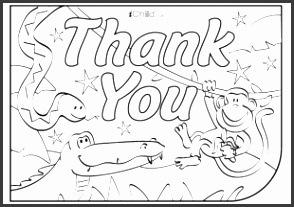 Thank You Card template for children Jungle