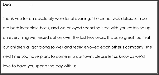 Sample Dinner Thank You Note Templates