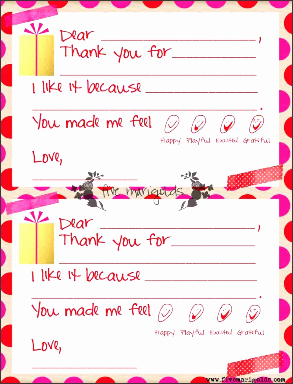 Christmas Thank You Note Template for Kids