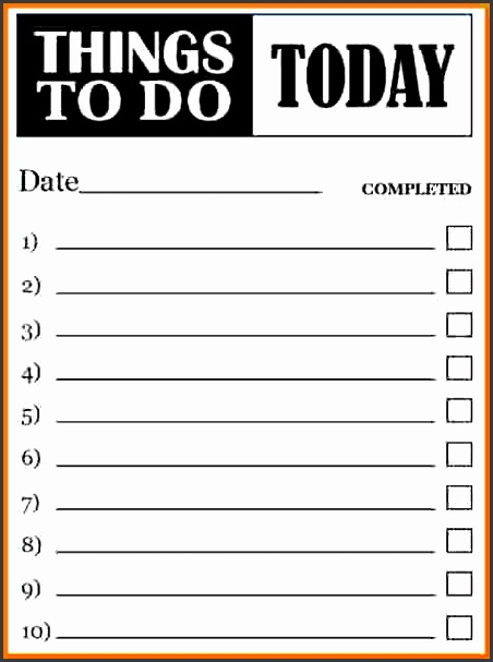 Things To Do Form Template Sample To Do Checklist Template
