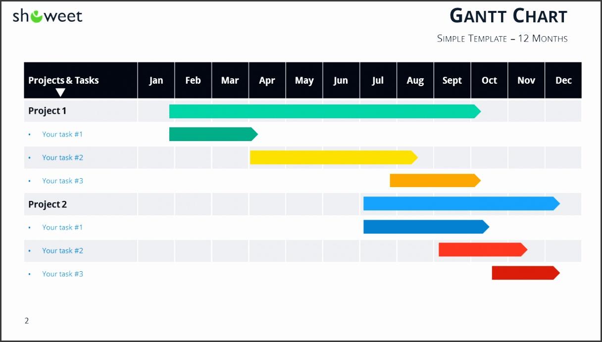 Gantt chart template for PowerPoint 12 Months Widescreen
