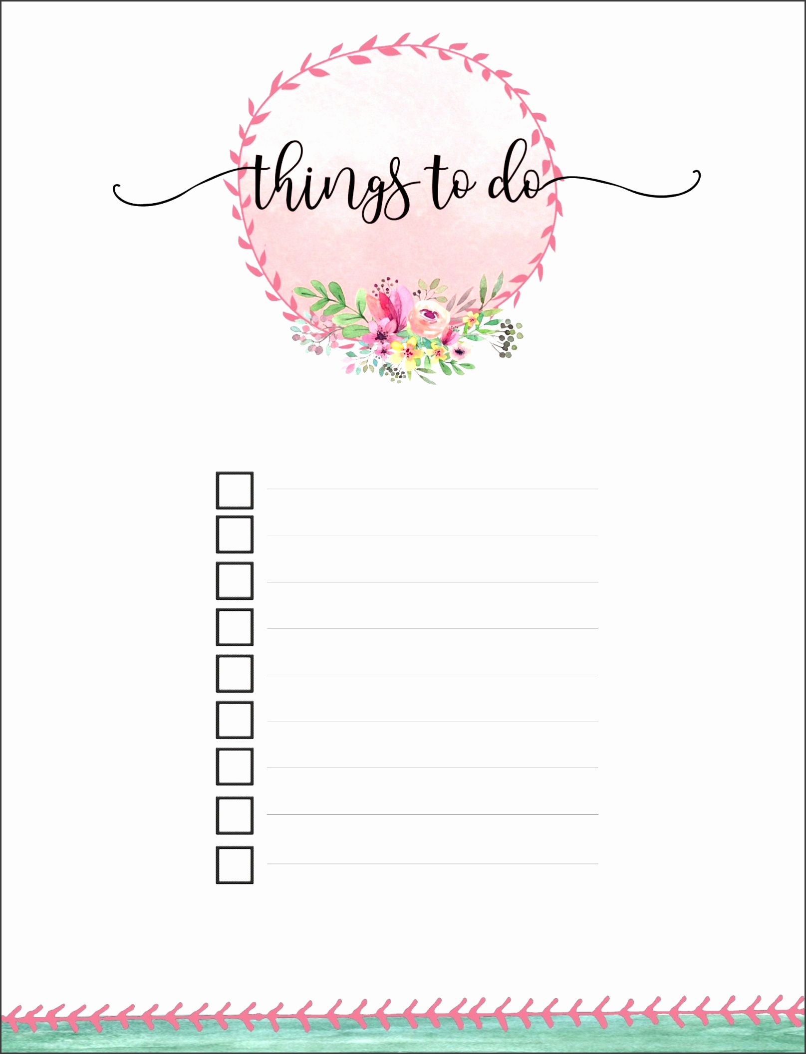 Pretty printable · Floral list · Things to do