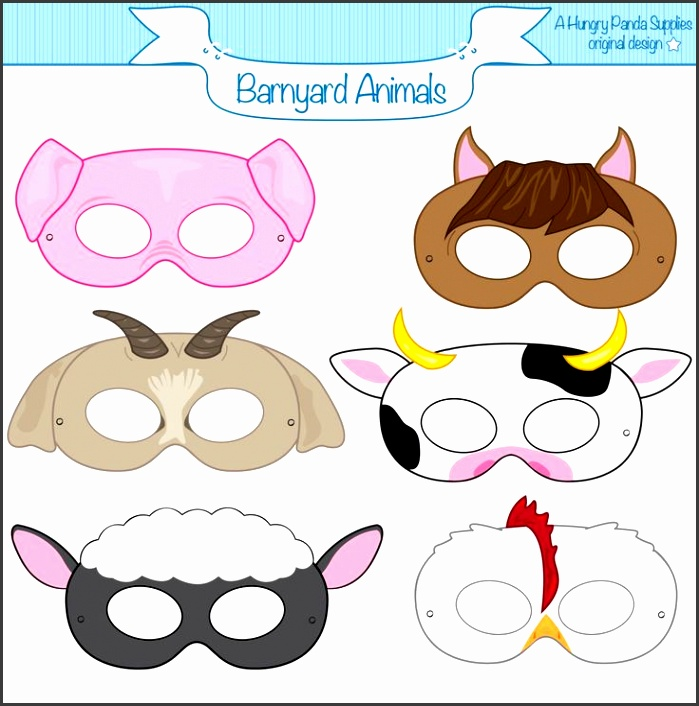 This listing is for 6 printable mask JPG files that are in both a · Farm Animal