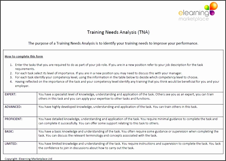 Select Training Needs Analysis to open the file ELM TNA ELM TNA2