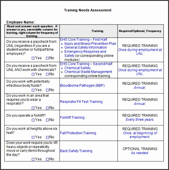 printable doc Employee Training Needs Assessment Template Word