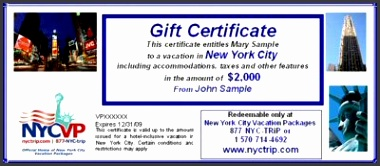 NYC Gift Certificate