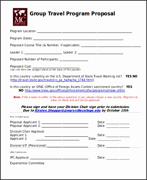 Travel Proposal Template Group Travel Program
