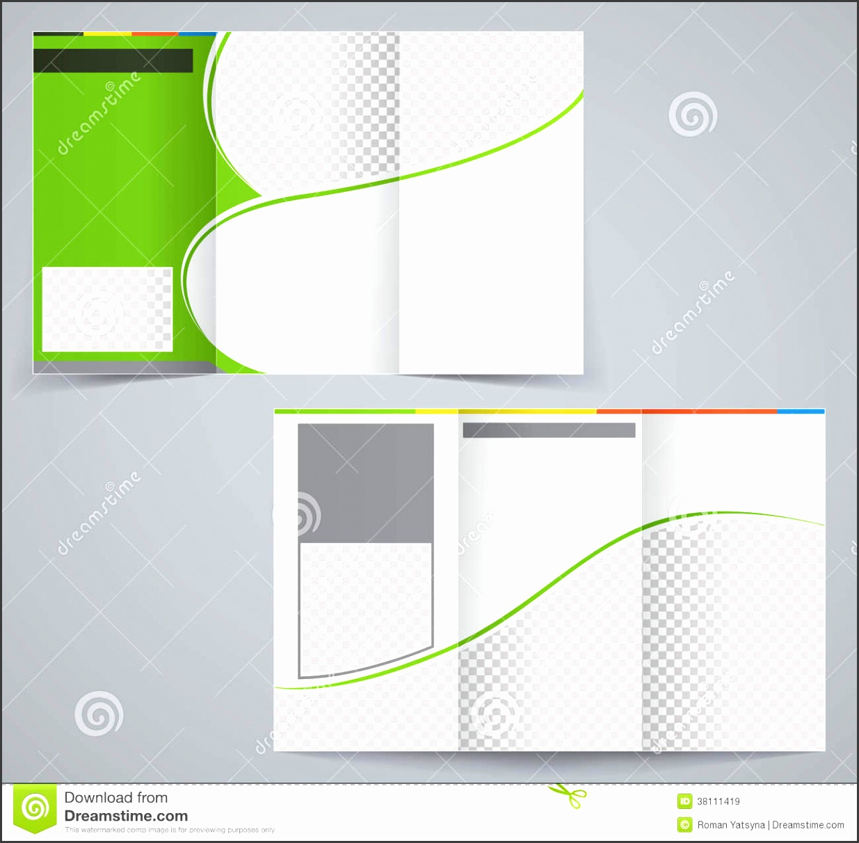 Tri fold business brochure template vector green
