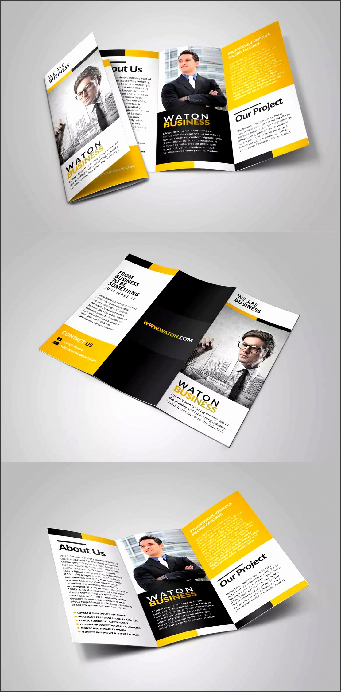 Waton Business Trifold Brochure Template PSD