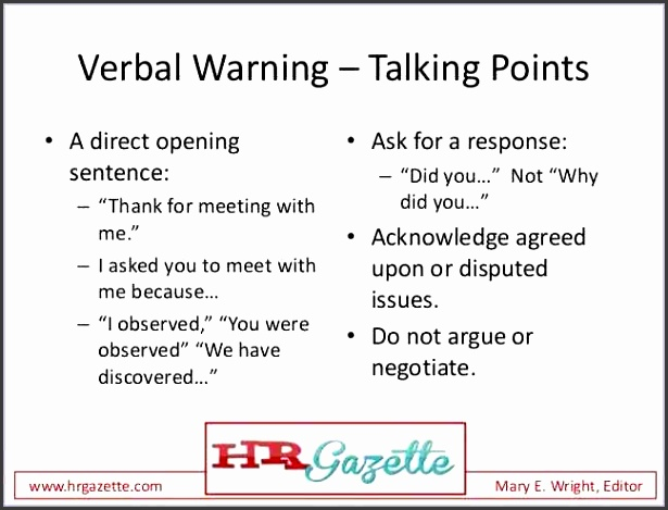 How to write a verbal warning letter