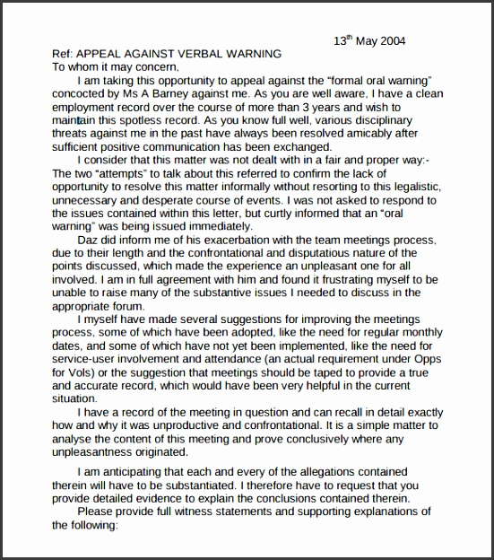 8 Verbal Warning Letter Template - Sampletemplatess